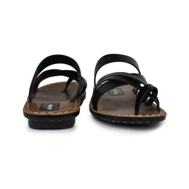 Columbus Synthetic Leather Black Sandals -2522