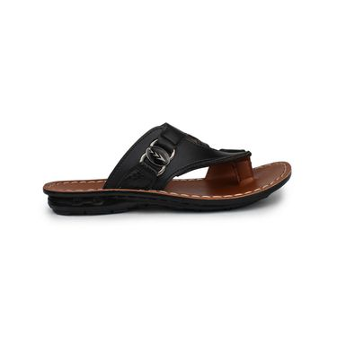 Columbus Synthetic Leather Black & Tan Sandals -2607