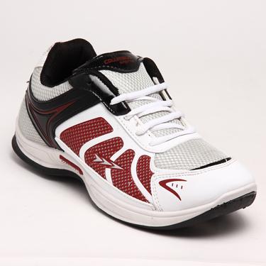 Columbus PU Sports Shoes - White & Maroon-5291