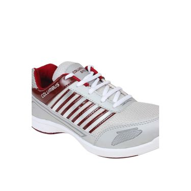 Columbus Mesh Sports Shoes Tab-1115 -Grey & Maroon