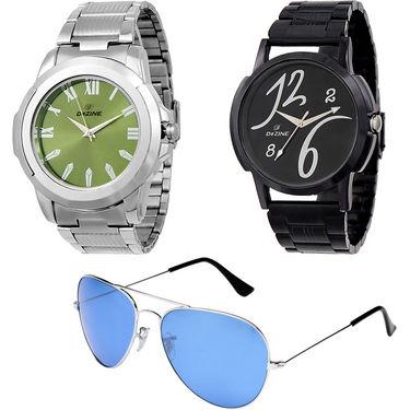 Combo of Dezine 2 Analog Watches + 1 Aviator Sunglasses_DZ-CMB102