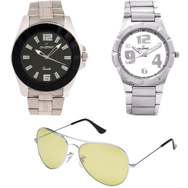 Combo of Dezine 2 Analog Watches + 1 Aviator Sunglasses_DZ-CMB112
