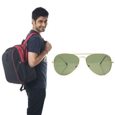 Combo of Fidato Backpack - Black + Wayfarer Sunglass-4188