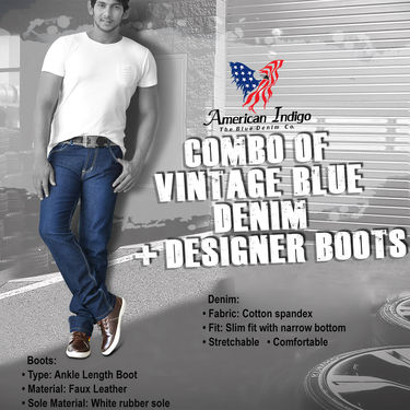 Combo of Vintage Blue Denim + Designer Boots
