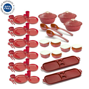 Combo of Cutting Edge 67 Pcs Complete Kitchen Set Air Tight Storage Containers + Dinner Set - Red