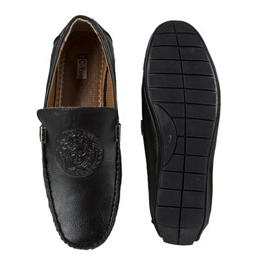 Yellow Tree Synthetic Leather Loafers Shoes Cvansi-Black
