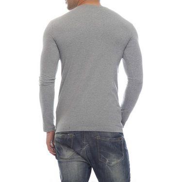 Delhi Seven Full Sleeves Round Neck Cotton T Shirt For Men - Grey