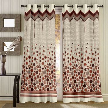 Story @ Home Brown Jacquard 1 pc Door curtain-7 feet-DBR4018