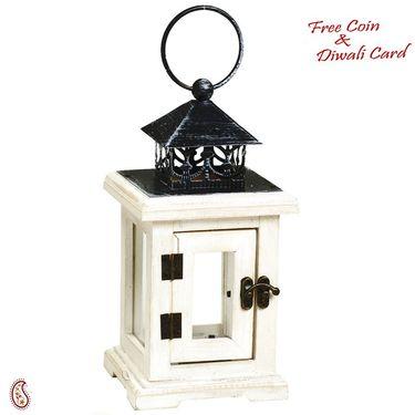 Aapno Rajasthan Square Mini Lantern with Hinge Door and glass panes