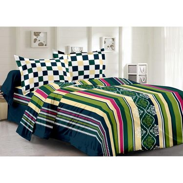 Valtellina 100% Cotton Double Bedsheet with 2 Pillow Cover-6001-B