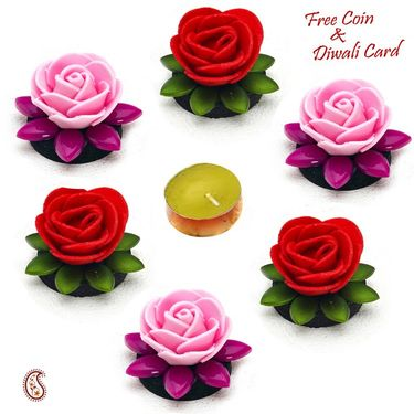 Multicolor Rose Shape Floating Showpieces with Candle-DIDEC1522