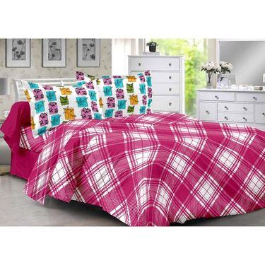 Valtellina 100% Cotton Double Bedsheet with 2 Pillow Cover-3013-A