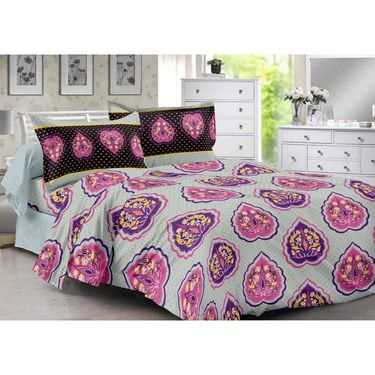 Valtellina 100% Cotton Double Bedsheet with 2 Pillow Cover-3017-A
