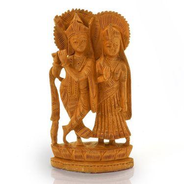 Little India Ethnic Lord Radha Krishan Idol Wood Handicraft 148