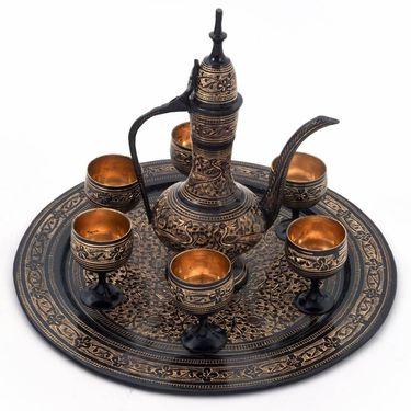 Little India Antique Black Royal Wine Set Pure Brass Handicraft 182