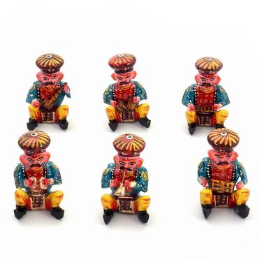 Little India Rajasthani 6 Piece Musician Bawla Set in Wood -183