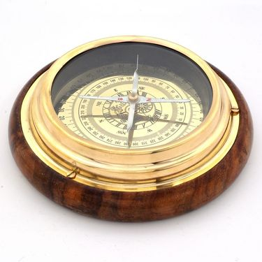 Little India Wood n Brass Real Nautical Compass Handicraft 215