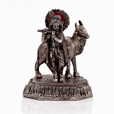 Little India Antique White Metal Lord Krishna with Cow Idol 309
