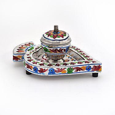 Little India Meenakari Sindoor Box n Tray in White Metal 328