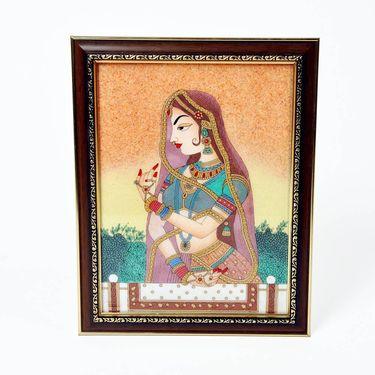 Little India Waiting Princess Bani Thani Gemstone Painting 340