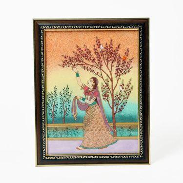Little India Lady Plucking Flowers Pure Gemstone Painting 348