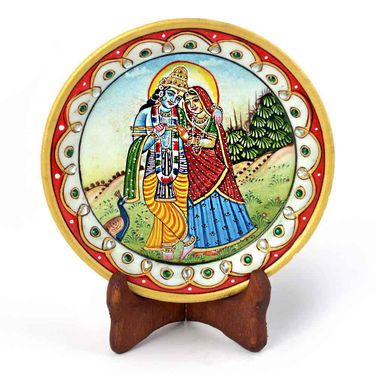 Little India Gold Minakari Marble Radha Krishna Beautiful Plate 396