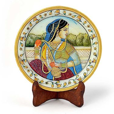 Little India Rajasthani Princess Gold Meenakari Marble Painting 397