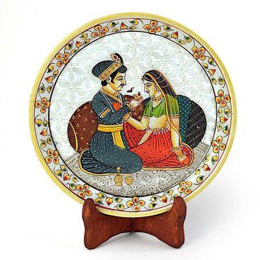 Little India Akbar Jodha Gold Meenakari Marble Painting Plate 398