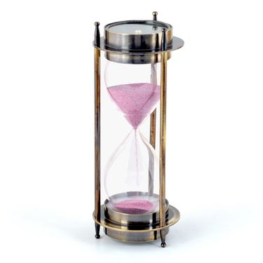 Little India Real Brass Direction Compass n 5 Minute Sand Timer 409
