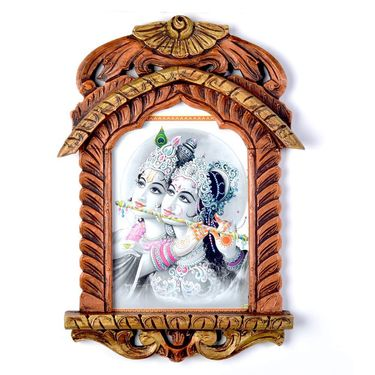 Little India Lord Radha Krishna Playing Flute Jharokha Painting 411