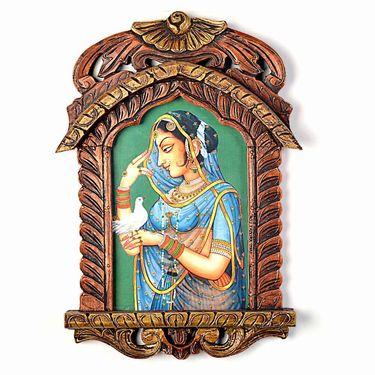 Little India Rajasthani Princess With Pigeon Jharokha Painting 412
