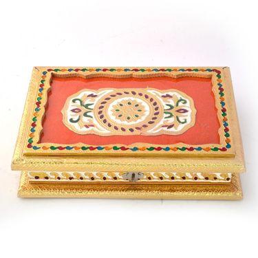 Little India Golden Meenakari Designer White Metal Dryfruit Box 426