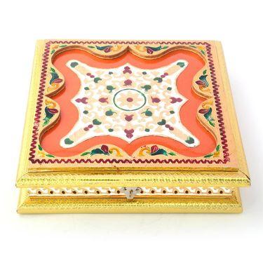 Little India Golden Meenakari Booti Work Handmade Dryfruit Box 432