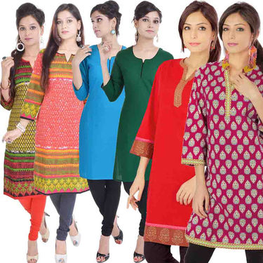 Combo of 6 Cotton Printed Kurti -DLI6KCO608