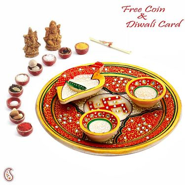 Aapno Rajasthan Red Marble Pooja Thali with 2 Diyas & 1 Open Chopra