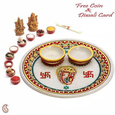 Aapno Rajasthan Ganesh and Swastik inscribed Pure white Marble Pooj Thali
