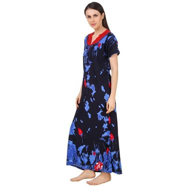 Fasense Shinker Cotton Printed Long Nighty -DP179C2