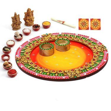 Aapno Rajasthan Beautiful Floral Design Diwali Pooja Thali