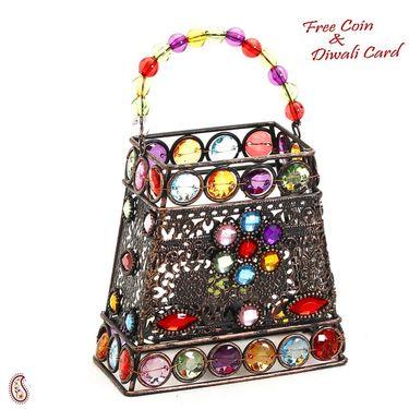 Aapno Rajasthan Hand Purse Design Multi Color Wrought Iron Tea Light Holder