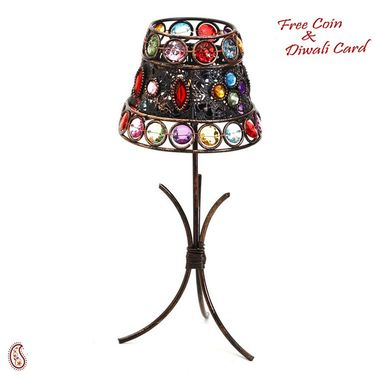 Lamp Shade Tea Light Holder with Color Glass Holders