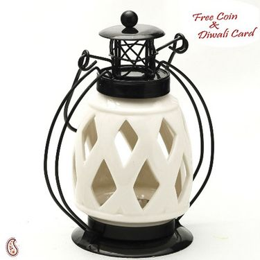 Diamond Cut Pure White Ceramic Wind Lantern Tea Light Holder
