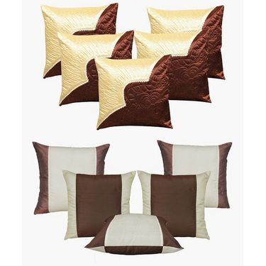 Dekor World Ultima Brown Combo. Cushion Cover(Pack of 10 Pcs)-DWCB-125