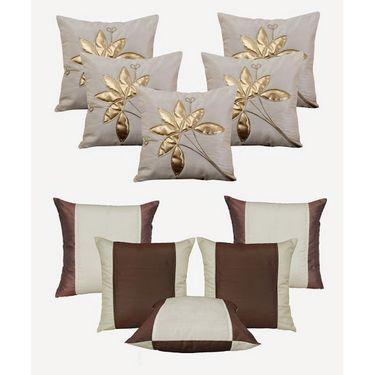 Dekor World Cream Floral Bonanza Cushion Cover(Pack of 10 Pcs)-DWCB-148