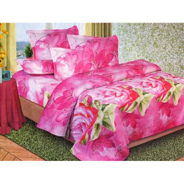 Set of 2 Floral 3D Printed Bedsheet with 4 Pillow Covers-DWCB-473_74