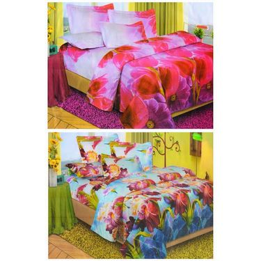 Set of 2 Floral 3D Printed Bedsheet with 4 Pillow Covers-DWCB-478_80