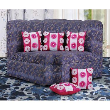 Dekor World 9 Flower Tissue Cushion Cover (Pack of 5)-DWCC-12-124-5