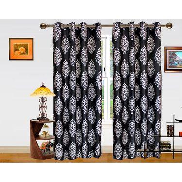 DEKOR WORLD  BLACK SILVER BAROQUE  EYELET Window Curtain 2 SET-DWCT-293-5