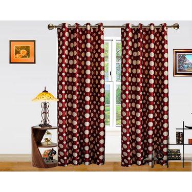 DEKOR WORLD MARRON DOT  EYELET Window Curtain 2 SET-DWCT-298-5