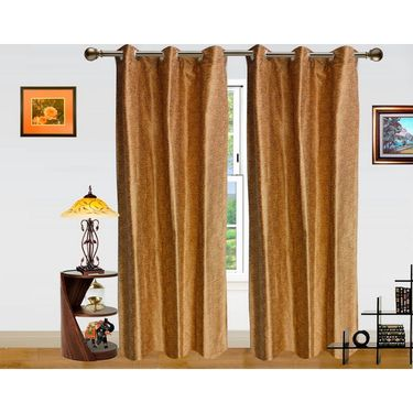 Pejali Pattern Brown Eyelet Window Curtain-Pack Of 2 -DWCT-385-5