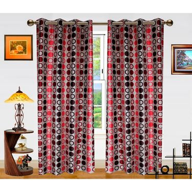 Dekor World Circle Bonanza Window Curtain- Set Of 2 -DWCT-462-5